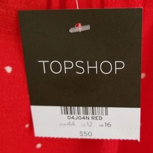 Topshop Tops - TOPSHOP RED TOP WHITE DOTS SZ US12 NWT